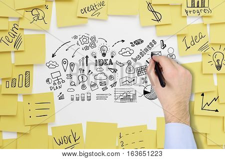 Close up of a businessman's hand in blue shirt drawing business idea icons on a whiteboard covered with sticky notes.