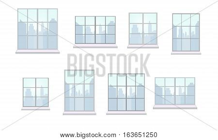 Collection of window frames of various shapes. The view from the window of day city. Suitable for home and office interior. Flat style vector illustration. Horizontal.