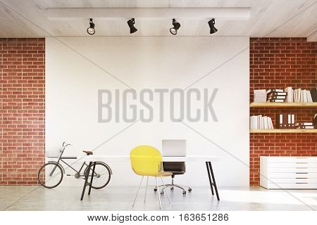 Front View Of Home Office With Yellow Sofa, Toned