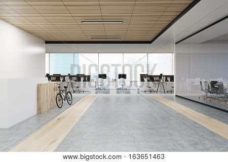 Office Interior With A Bike