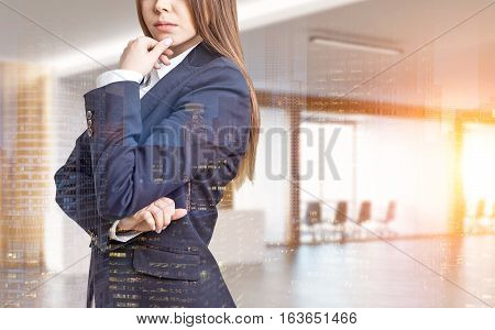 Close up of a businesswoman in a suit. She is standing in an office with conference room and thinking with her fingers on the chin. 3d rendering. Mock up. Toned image. Double exposure