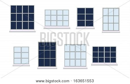 Collection of window frames of various shapes. The view from the window: day and night. Suitable for home and office interior. Flat style vector illustration. Horizontal.