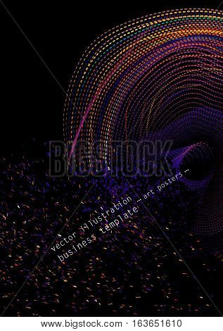 Universal graphical template for covers, flyers, banners, posters, placards, books, business cards. Multi-colored yarns and stitches on a dark background. EPS10 vector illustration A4 Size