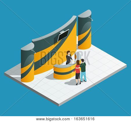 Exhibition promotion stand composition with isometric promo desk promoter and visitors vector illustration