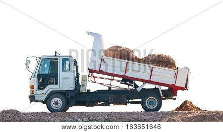 dumper truck in the construction site isolate on white background