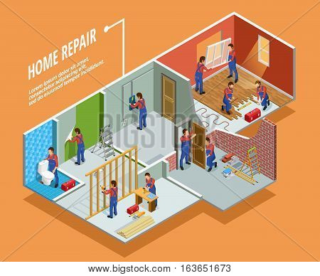 Home repair isometric template with painting carpentry  installation of toilet door and window  isolated vector illustration