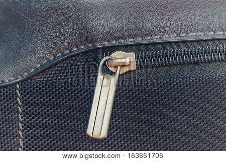Close up of black bag zipper black bag close up