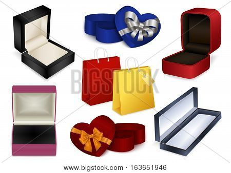 Illustration of jewelry boxes heart shaped gift boxes with bows and shopping bags isolated