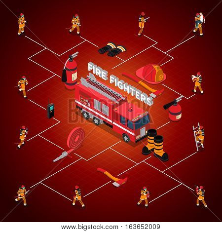 Firefighter isometric flowchart with fireman in different poses situations and professional equipment isolated vector illustration