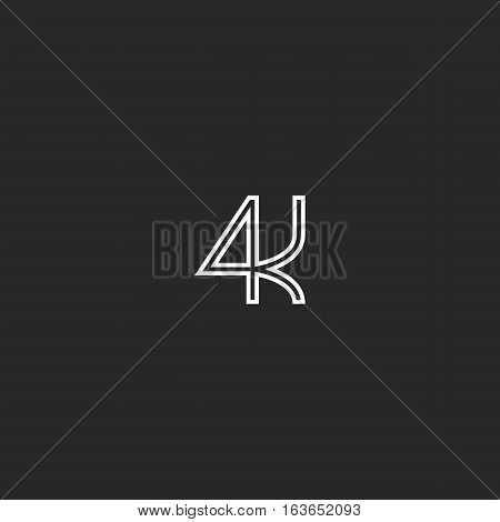 4K Logo Monogram Black And White Emblem, Ultra Resolution Video Lettering Concept Icon