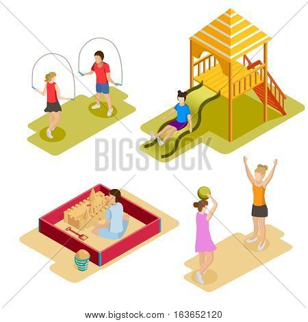 Colored isometric playground icon set with children play outdoor games and climb on playground vector illustration