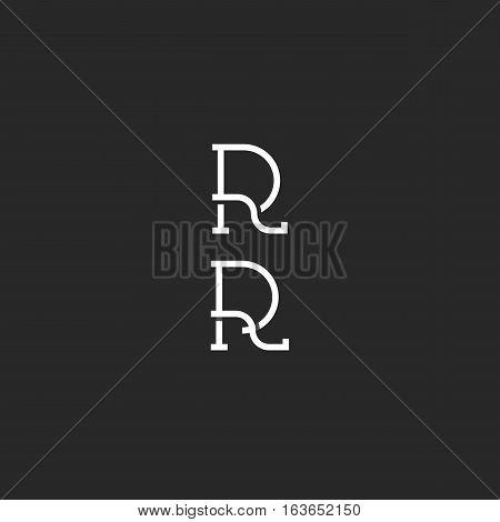 Monogram R Logo Black And White Simple Hipster Mark, Capital Rr Initials Wedding Invitation Emblem M