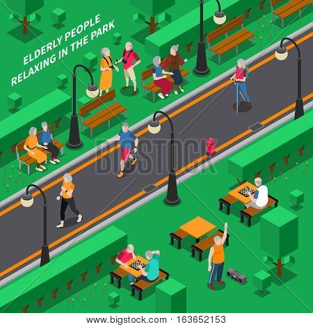 Elderly people relaxing in green park isometric composition vector illustration