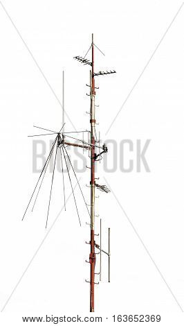 Telecommunication Antenna isolated on a white background.
