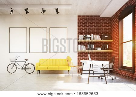 Home Office With Yellow Sofa And Three Posters