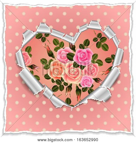 Illustration of template for wedding greeting invitation or valentines day card with torn paper heart roses and polka dot background