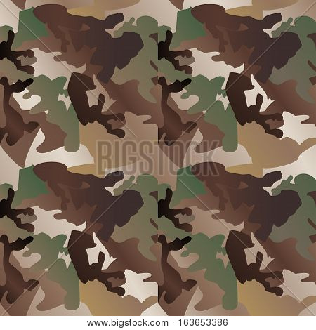 Camouflage pattern background seamless clothing print repeatable camo glamour vector. Olive brown grey