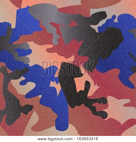 Camouflage pattern background seamless clothing print repeatable camo glamour grunge of scratch vector. Pink blue black