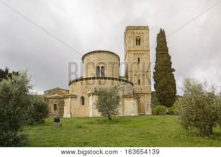 PIENZA,ITALY-APRIL 24,2016:View of the famous church on saint Antimo in the Tuscany countriside during a cloudy day.