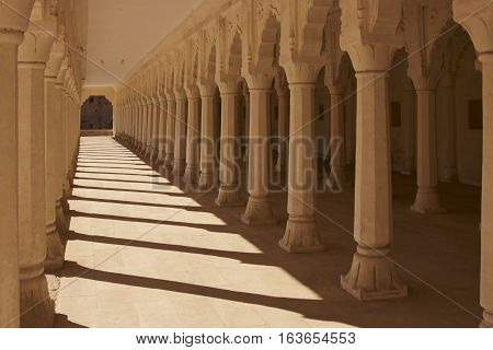 NAGAUR, RAJASTHAN, INDIA - FEBRUARY 14, 2008: Pillared Hall inside the historic Nagaur Fort and Palace complex in Rajasthan, India. Buildings date from 16th -18th centuries.