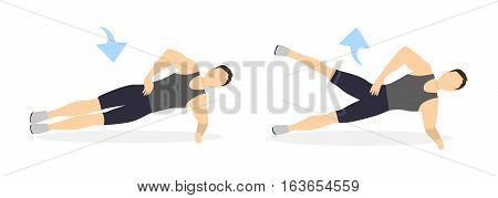 Plank exercise on white background. Side plank with leg rising. Abs exercise for men.