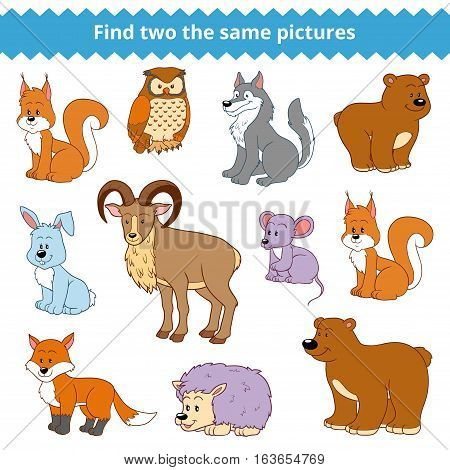 Find two the same pictures, education game for children, vector set of forest animals