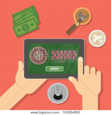 Online casino in the tablet. Hands holding device with gambling game. Gaming addiction. Money and cigar. Card game.