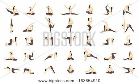 Workout for pregnant set. Yoga training for healthy pregnancy.