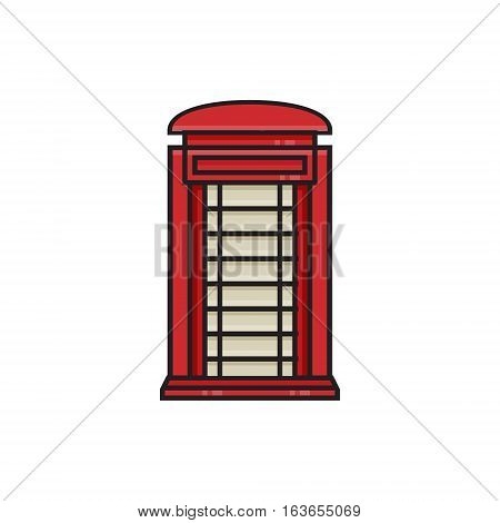 Red phone box flat icon. Single high quality symbol of London booth for web design, mobile app. Red - black icon of England's element for design logo, visit card, etc. Icon of red phone box