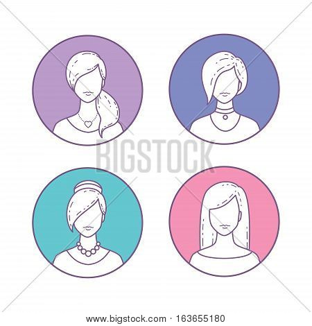 Vector Set of Icons girls avatars for profile page or social network. Flat line style.