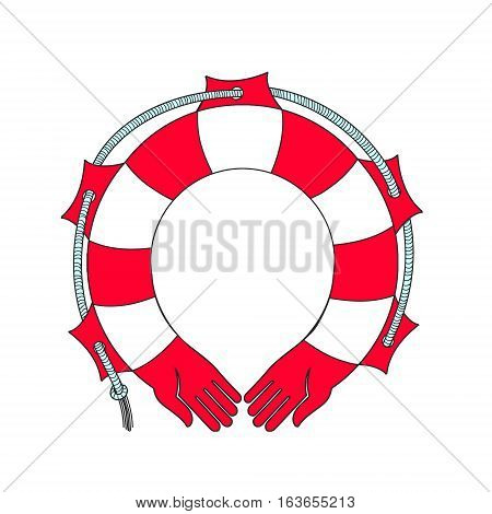 Symbol lifebuoy isolated on white. Cute funny vector illustration. Suitable for web design and printing and as print on t-shirt