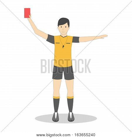 Isolated football player with red card on white background. Soccer player. Man in uniform.