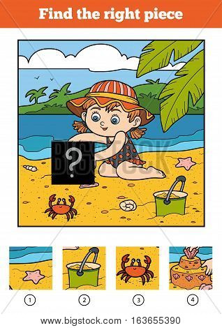 Find the right piece, jigsaw puzzle game for children. Little girl on the beach