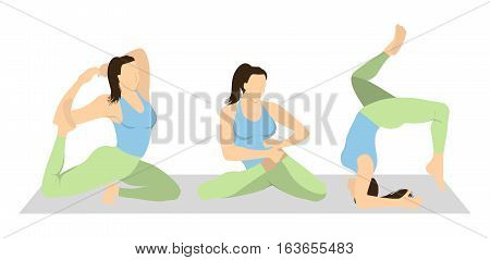 Yoga workout set on white background. Different poses and asanas. Healthy lifestyle. Body stretching. Training on mat.