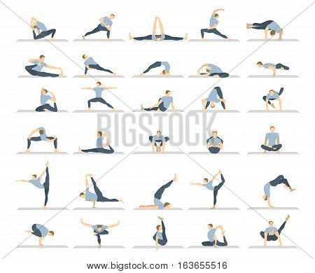 Yoga workout set on white background. Different poses and asanas.