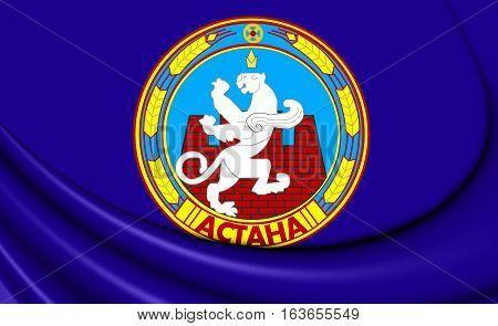 3D Flag Of Astana, Kazakhstan. 3D Illustration.