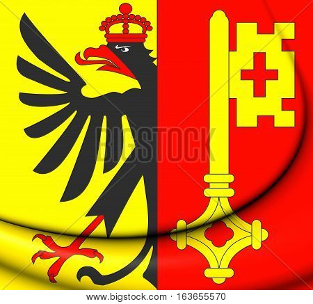 3D Flag Of Geneva Canton, Switzerland. 3D Illustration.