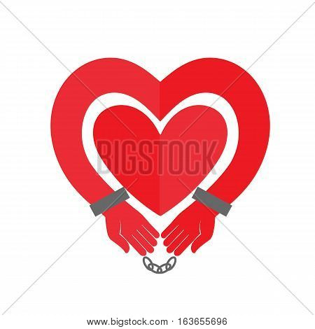 Hands heart in handcuffs. Handcuffs icon with red love heart sign. Vector illustration.