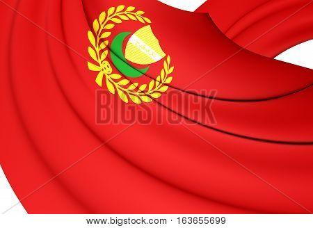 3D Flag Of Kedah State, Malaysia. 3D Illustration.