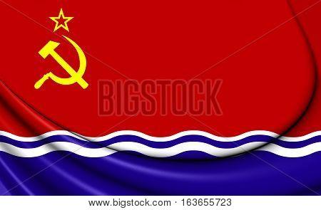 3D Flag Of The Latvian Ssr (1940-1991). 3D Illustration.