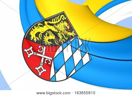 3D Flag Of Upper Palatinate Region, Germany. 3D Illustration.