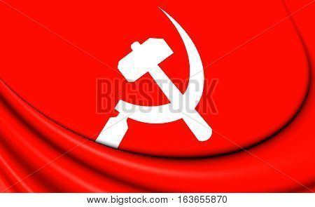 South Asian Communist 3D Banner. 3D Illustration.