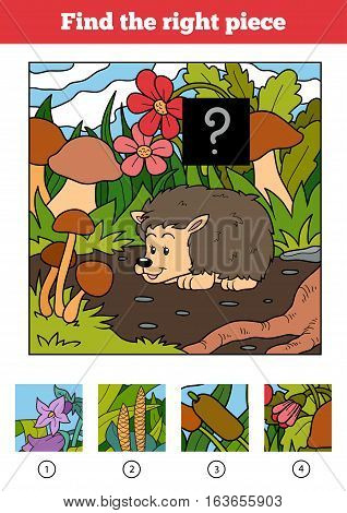 Find the right piece, jigsaw puzzle game for children. Hedgehog and background