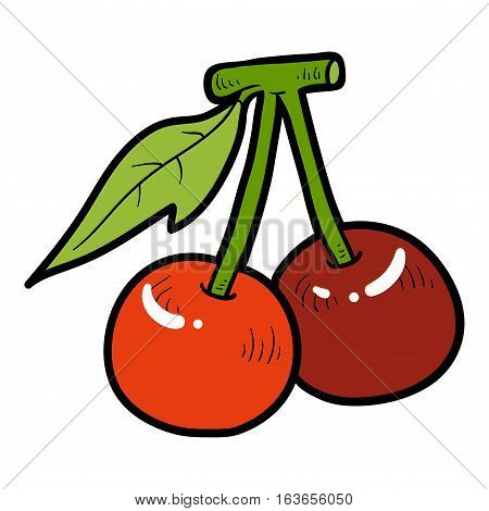 Color image with vector cartoon berry, Cherry