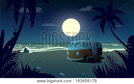 summertime at the night.Retro car stand on beach.Cartoon style.Vector illustration