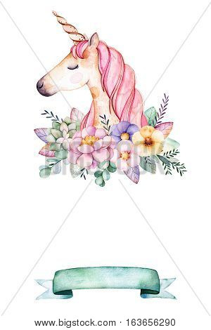 Lovely watercolor card with place for text with peony,flowers,foliage,succulent plant,branche,cute unicorn and ribbon.