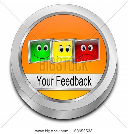 colorful Your Feedback Button - 3D illustration