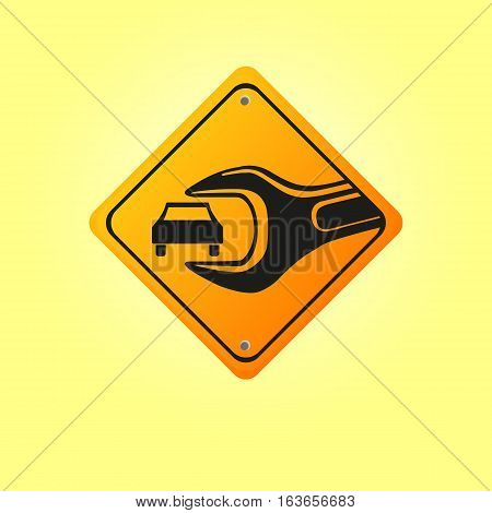 Car repair vector illustration on the background of a road sign