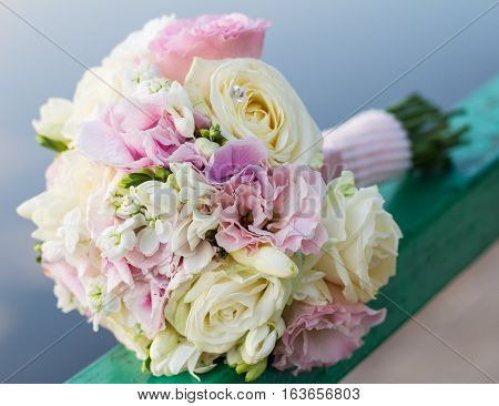 Close up of beautiful wedding bouquet ( wedding arrangement (