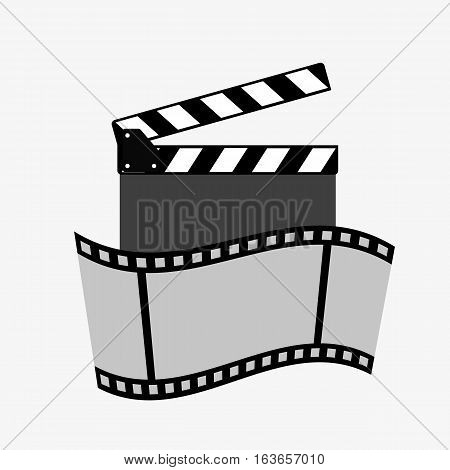 Clapper and film strip on a white background